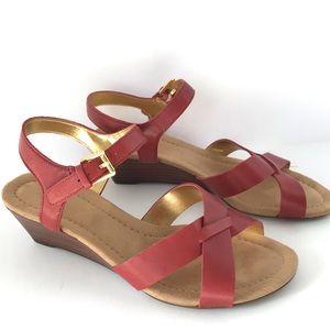 Ralph Lauren Red Laurissa Wedge Sandals Leather